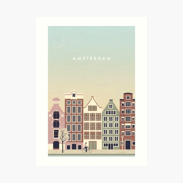 Amsterdam Travel Poster Kunstdruck