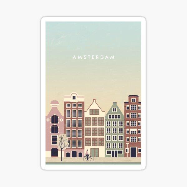 Cartel de viaje de Amsterdam Pegatina