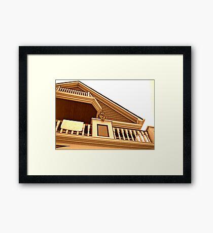 Cherub On Balcony of Victorian House, Ocean Grove, NJ [sepia] Framed Print