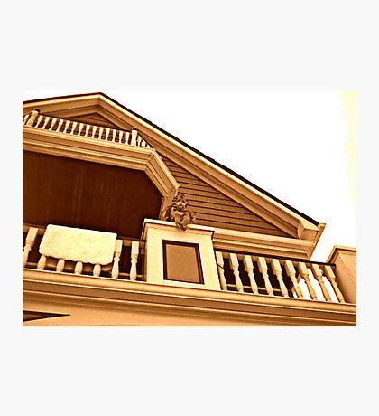 Cherub On Balcony of Victorian House, Ocean Grove, NJ [sepia] Photographic Print