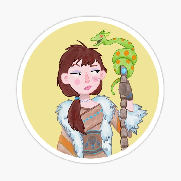 A Witch and her Wyvern Sticker