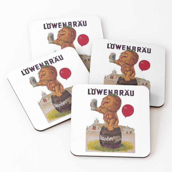 German Oktoberfest party with Lowenbrau Lion Coasters (Set of 4)