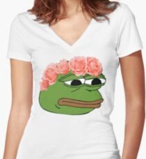 Flower Crown Pepe Frog Women's Fitted V-Neck T-Shirt