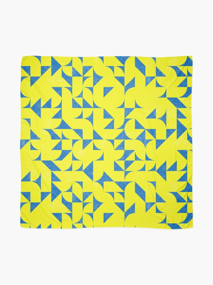 Alternate view of Blue & Yellow Geometric Pattern Scarf