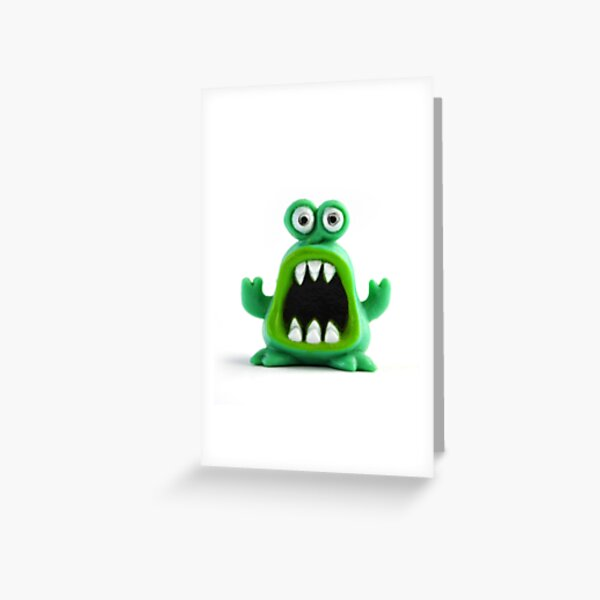 Scared green alien Greeting Card