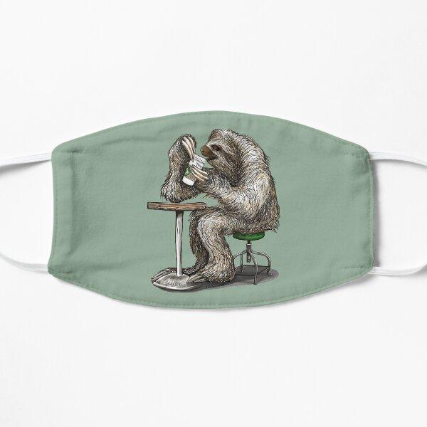 Steve the Sloth Taking a Coffee Break - dotsofpaint Flat Mask