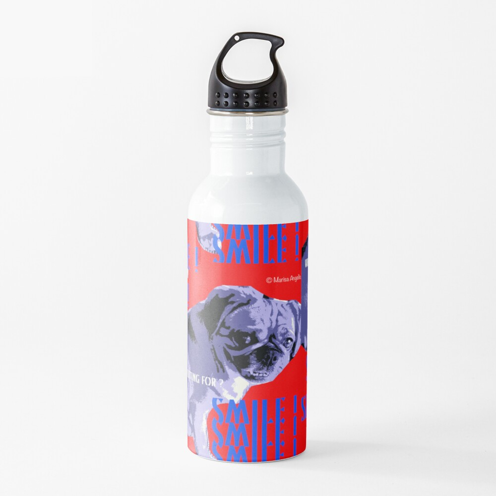 Smile - What Are You Waiting For? Pugalier Pug  Water Bottle