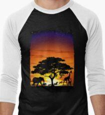 Wild Animals on African Savanna Sunset  Baseball ¾ Sleeve T-Shirt
