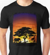 Wild Animals on African Savanna Sunset  Unisex T-Shirt