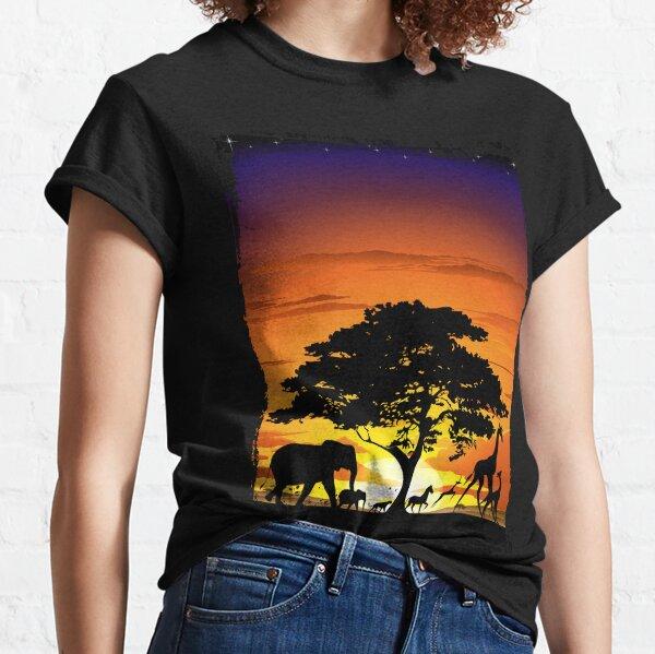 Wild Animals on African Savanna Sunset  Classic T-Shirt