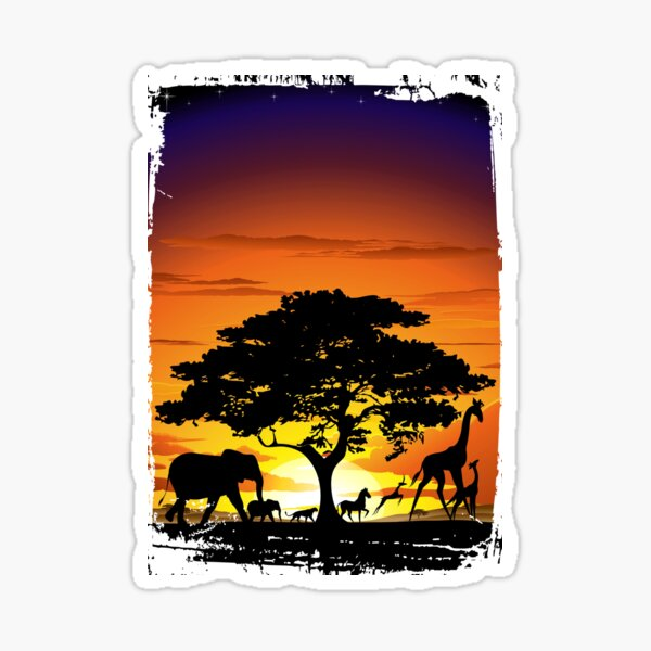 Wild Animals on African Savanna Sunset  Sticker