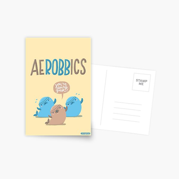 Aerobbics - Sporty Seals Postcard