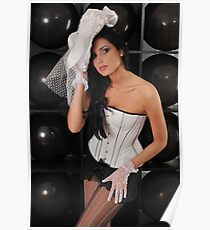 Portrait of sexy topless young lady in V shape corset and black lingerie Poster