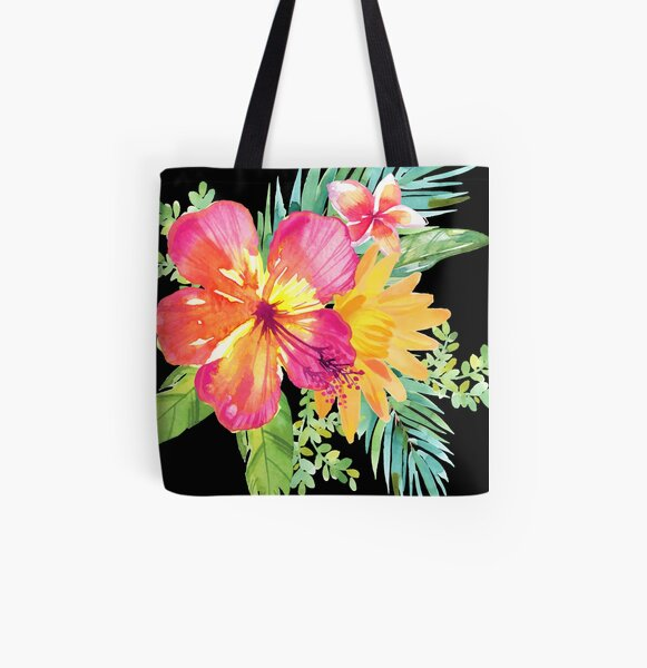 Tropical Colorful Flowers All Over Print Tote Bag