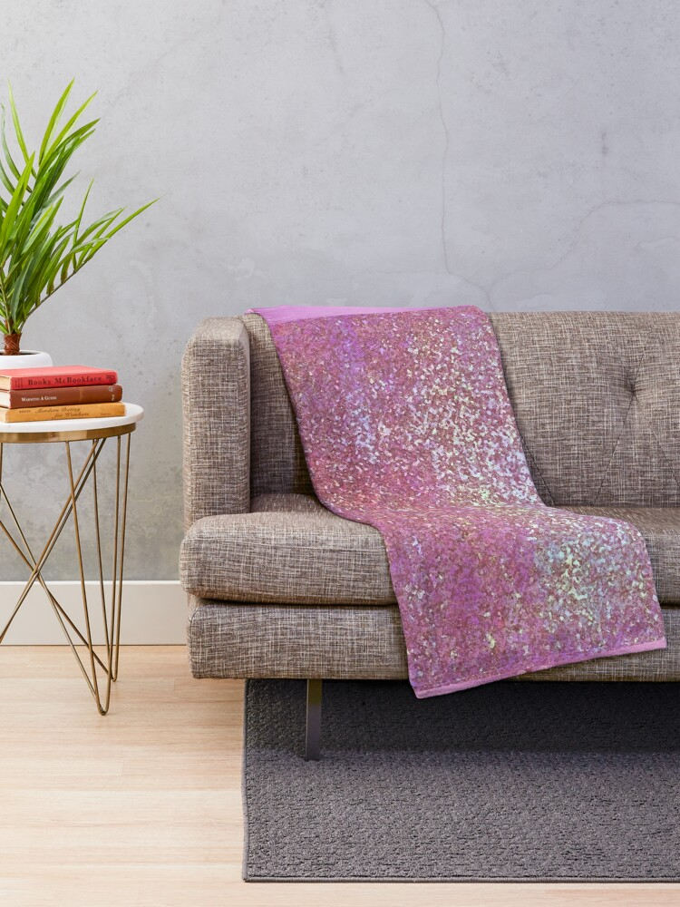 Alternate view of Glam Sparkling Shabby Chic Pink Print Throw Blanket