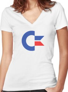 Commodore C64 Retro Classic Symbol Women's Fitted V-Neck T-Shirt