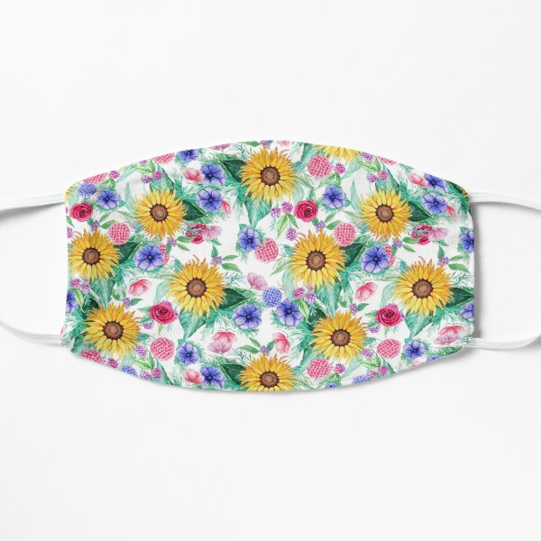 Sunflower, anemone, dahlia, rose and beauty berry watercolor floral Mask