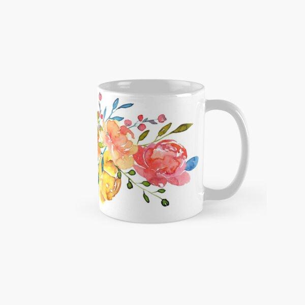 Bright Flowers Summer Watercolor Peonies Classic Mug