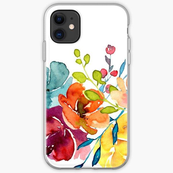 Helle Blumen Sommer Aquarell Pfingstrosen iPhone Flexible Hülle
