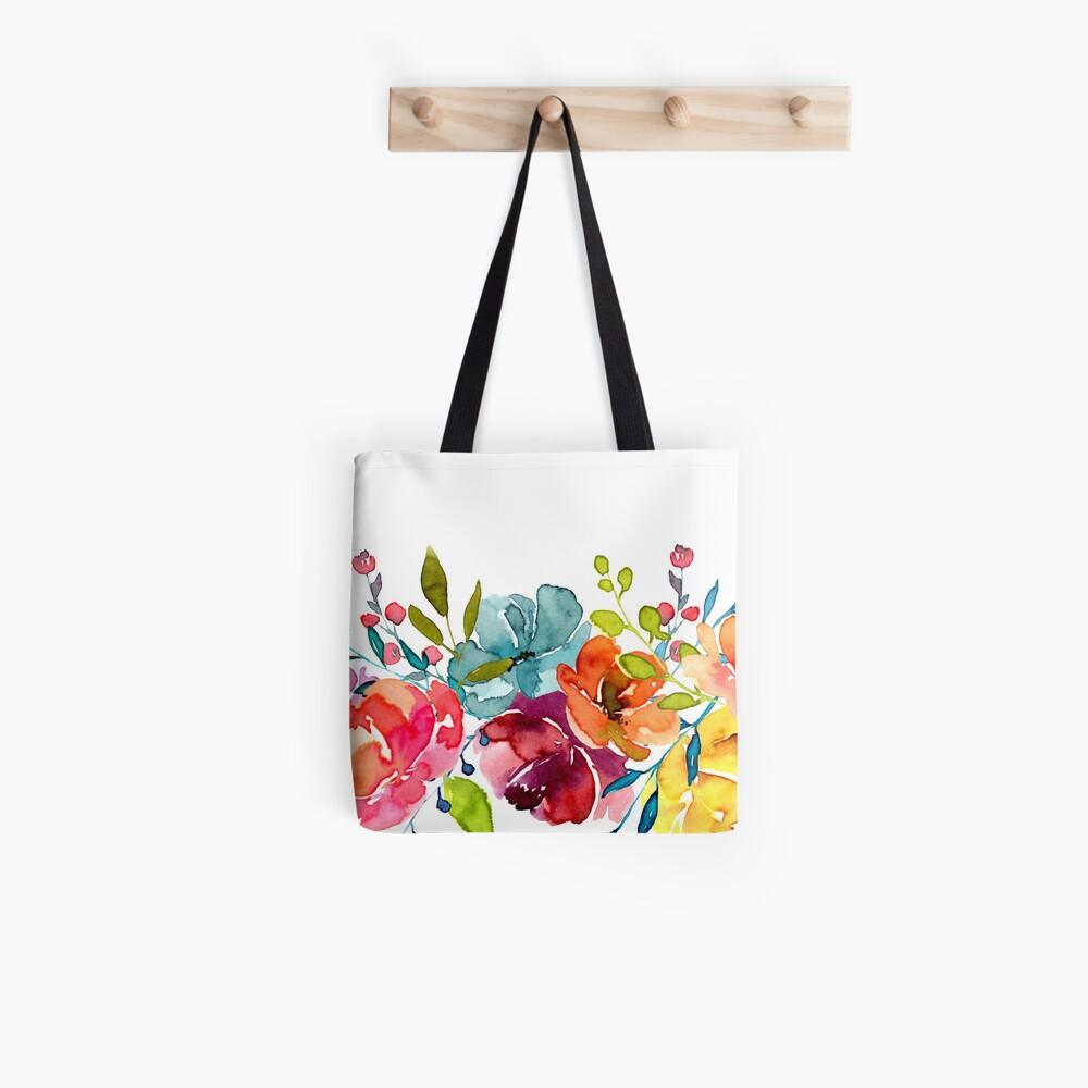 Bright Flowers Summer Watercolor Peonies Tote Bag