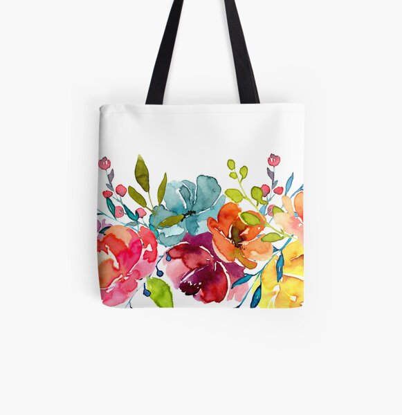 Bright Flowers Summer Watercolor Peonies All Over Print Tote Bag