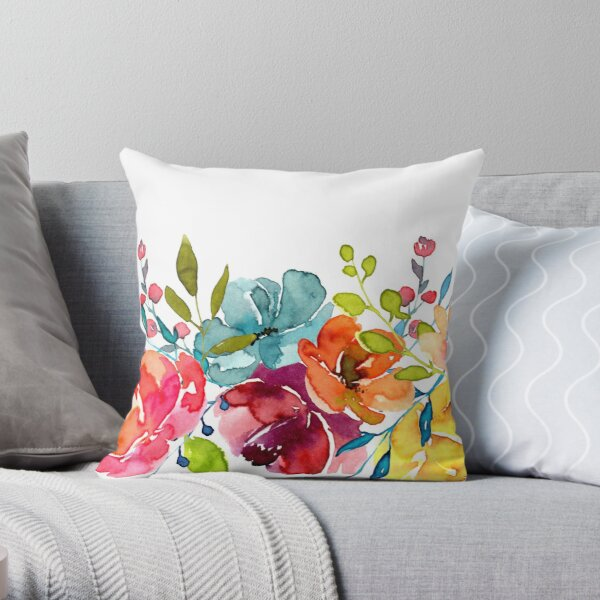 Bright Flowers Summer Watercolor Peonies Throw Pillow