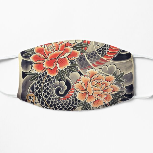 Japanese Snake & Peonies Flower Tattoo Ink Face Mask Mask