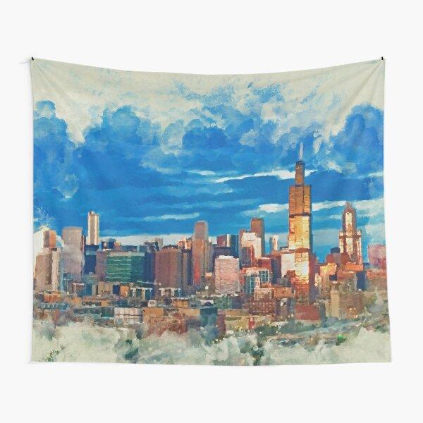 Chicago at dusk - Mixed Media Tapestry