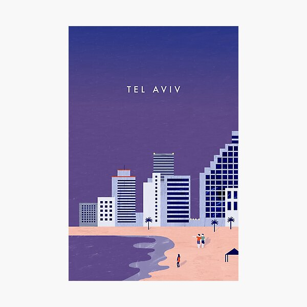 Tel Aviv Travel Poster Photographic Print