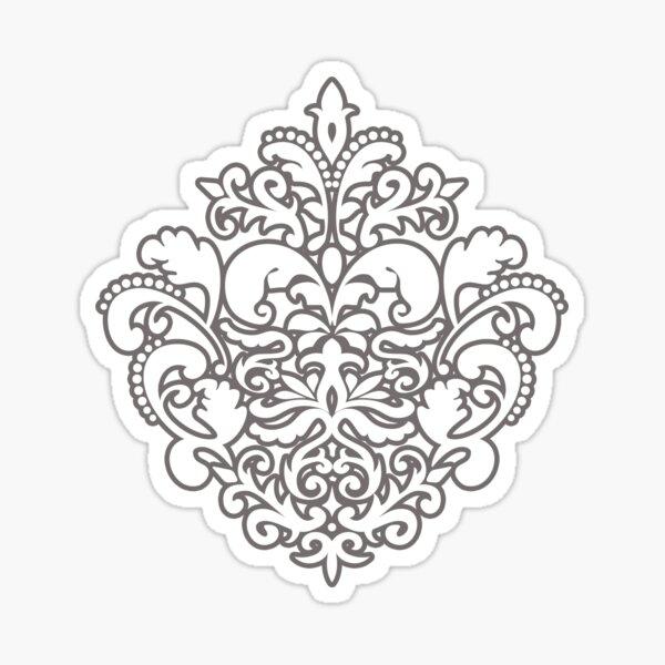 White Damask Pattern Sticker