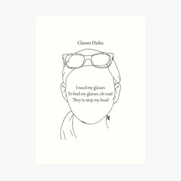 Glasses Haiku Art Print