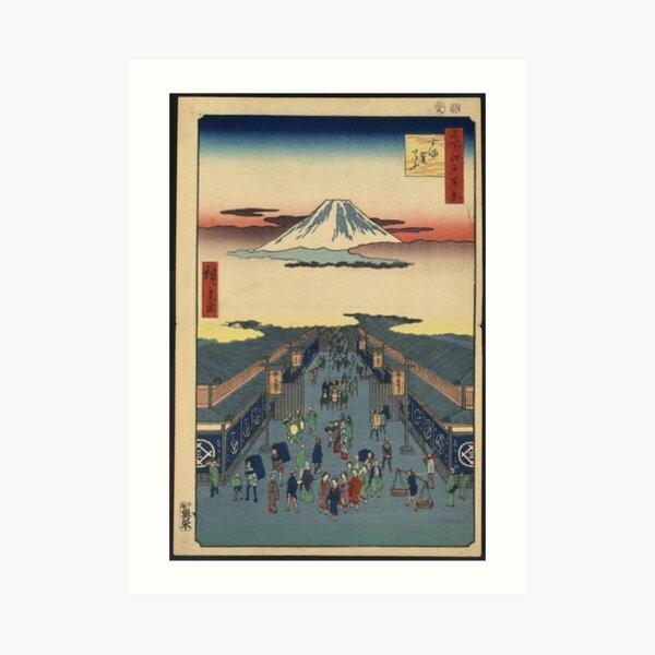 Japanese antique, vintage art woodblock ukiyo e Suruga-chō Art Print