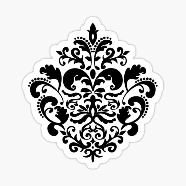 Black and Red Damask Pattern Sticker