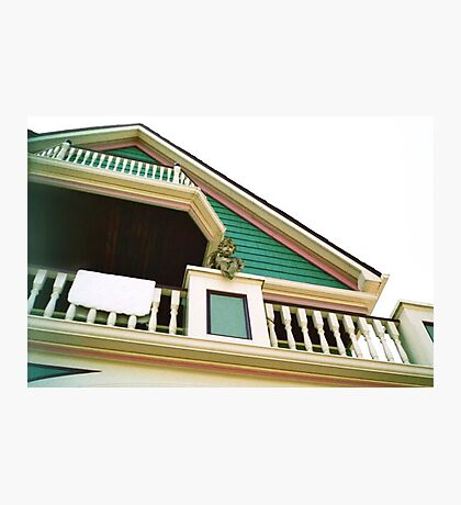 Cherub On Balcony of Victorian Painted House, Ocean Grove, NJ Photographic Print