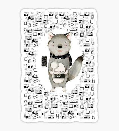 Wolf With Camera Sticker