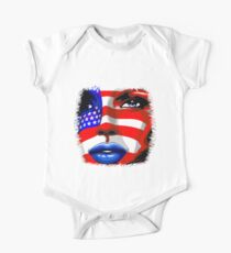 Usa Flag on Girl's Face Kids Clothes