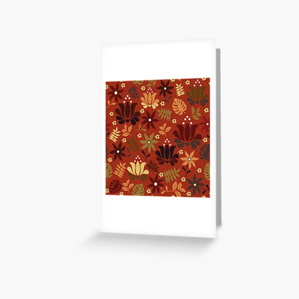 orange and yellow flowers on rust red  Greeting Card