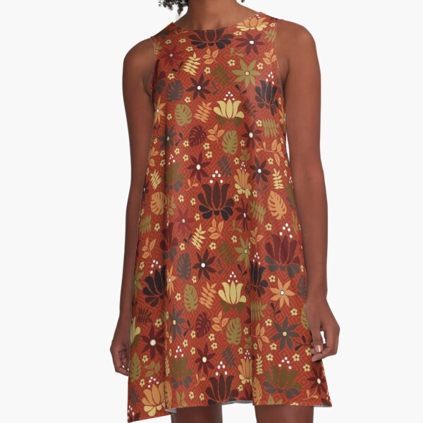 orange and yellow flowers on rust red  A-Line Dress