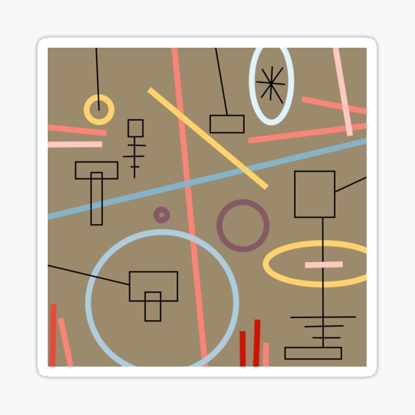 Circles, squares and lines in muted shades Sticker
