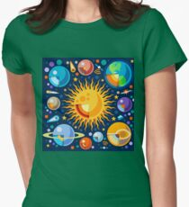 Solar System Infographics Womens Fitted T-Shirt