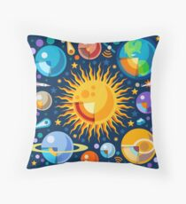 Solar System Infographics Throw Pillow