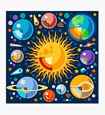 Solar System Infographics Photographic Print