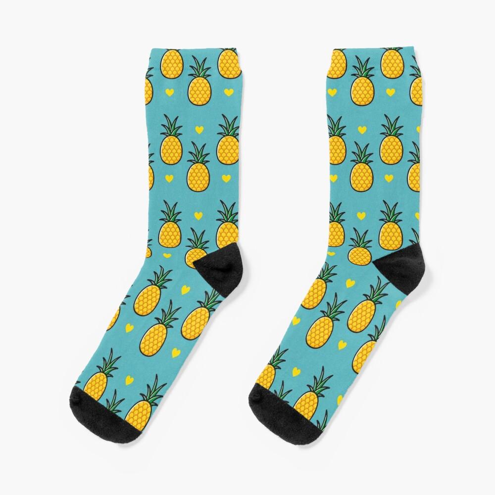 Pineapple Tiki Love (Blue) Socks
