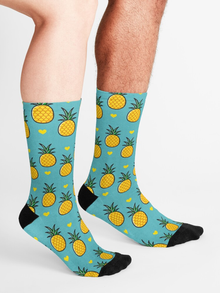 Alternate view of Pineapple Tiki Love (Blue) Socks