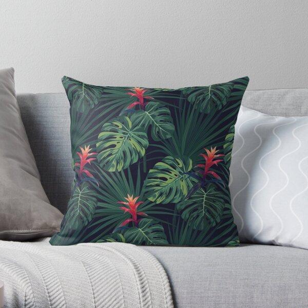 Tropical pattern with Guzmania Throw Pillow