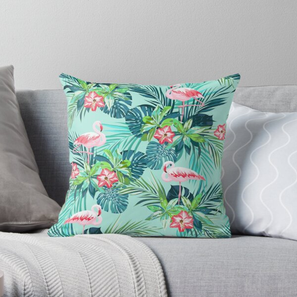 Bright green flamingos Throw Pillow