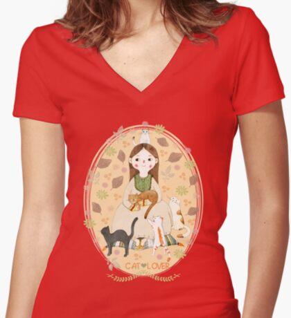 Cat Lover Women's Fitted V-Neck T-Shirt