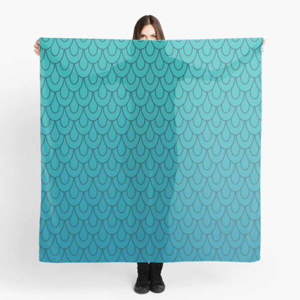 Mermaid Scales Turquoise to Teal Ombre Scarf