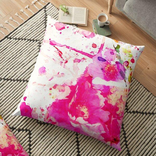 flower and splash in pink Floor Pillow
