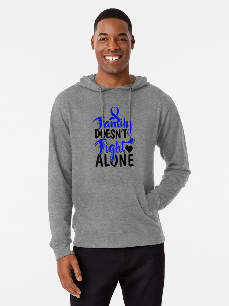 Colon Cancer Blue Ribbon Crc Awareness Support Family Walk Design Lightweight Hoodie By Createdbyheidi Redbubble